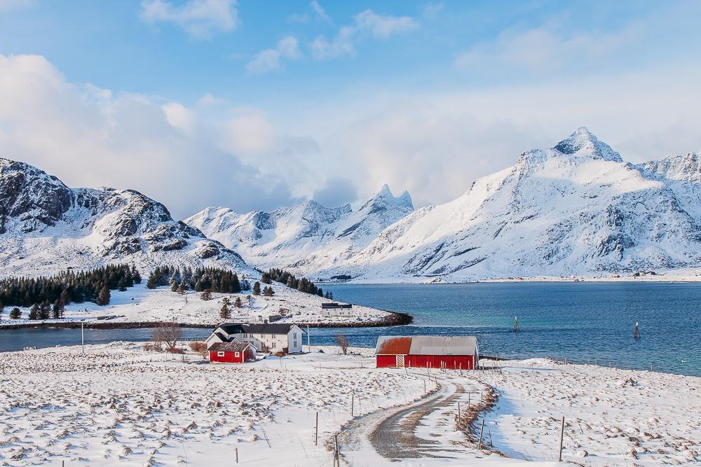 lofoten norway in winter snow march