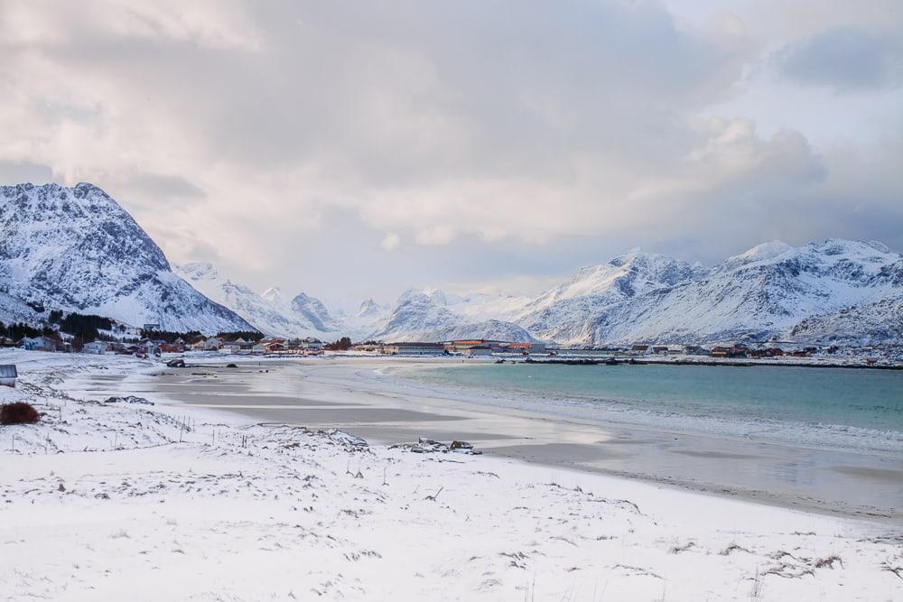 ramberg beach in winter lofoten norway