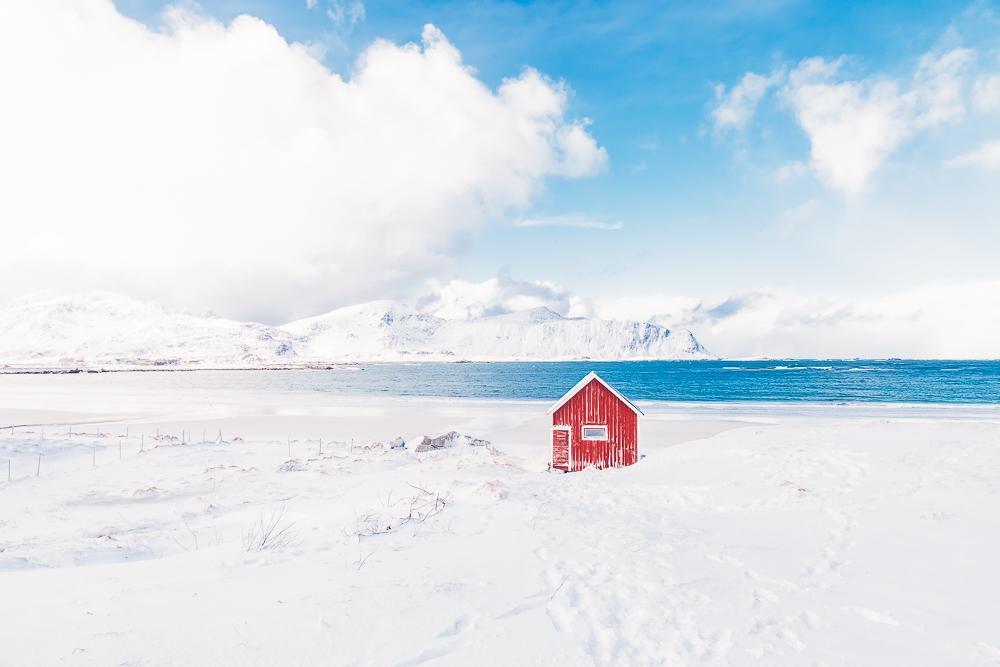 Ramberg beach rambergstranda lofoten norway winter snow ice march