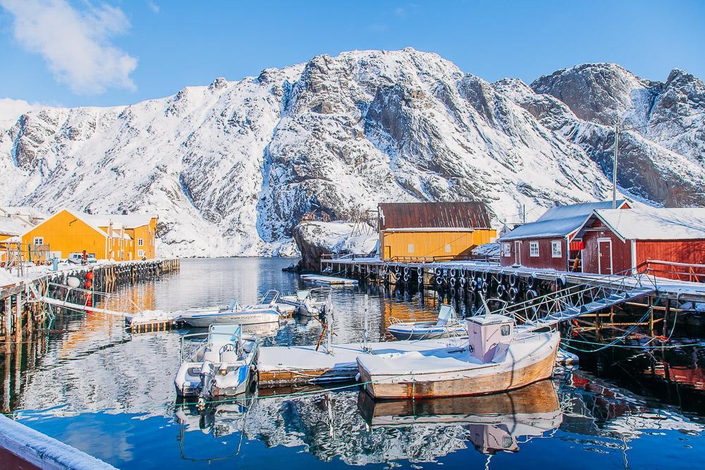 nusfjord lofoten norway winter snow march