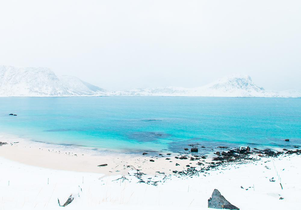snowy beach lofoten norway
