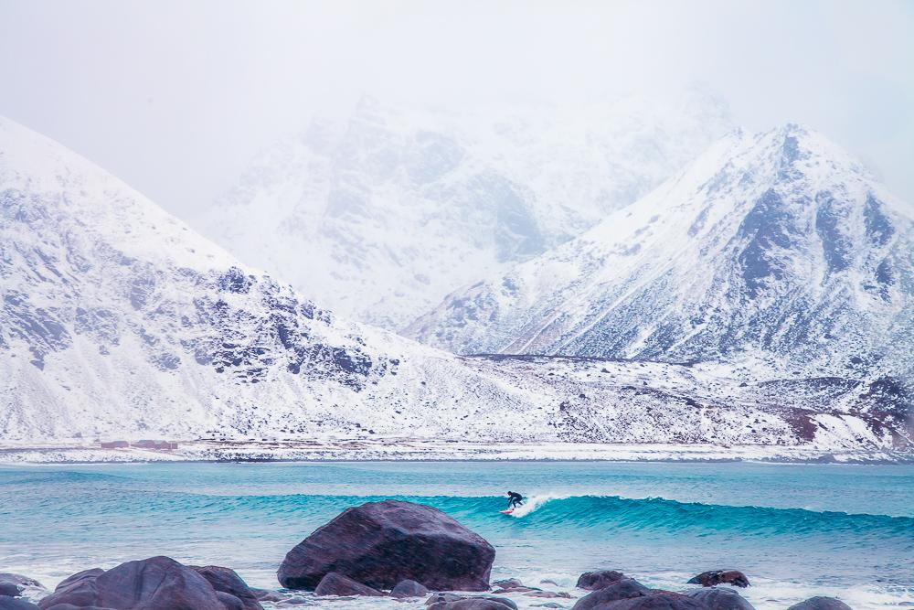 unstad artic surf beach winter march lofoten norway