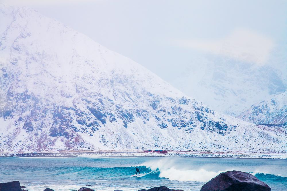 arctic surfing unstad beach lofoten norway winter