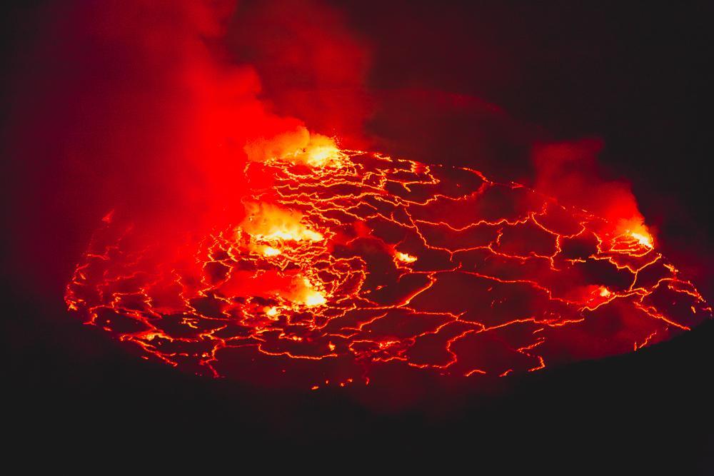 nyiragongo volcano drc congo at night