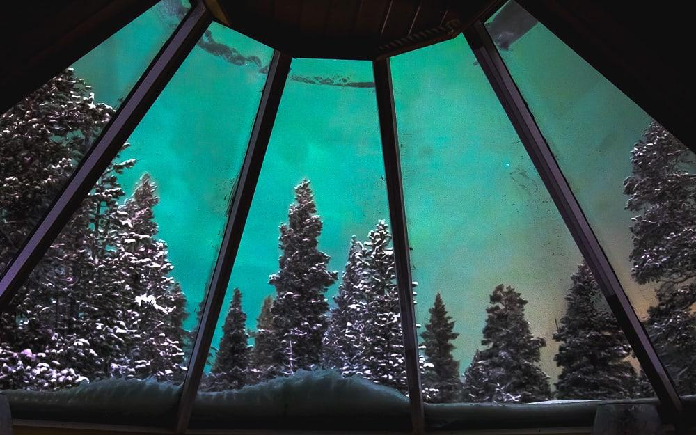 seeing northern lights from glass igloo cabin finland