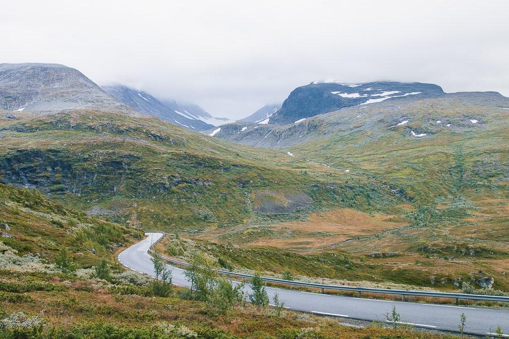 driving through norwegian mountains
