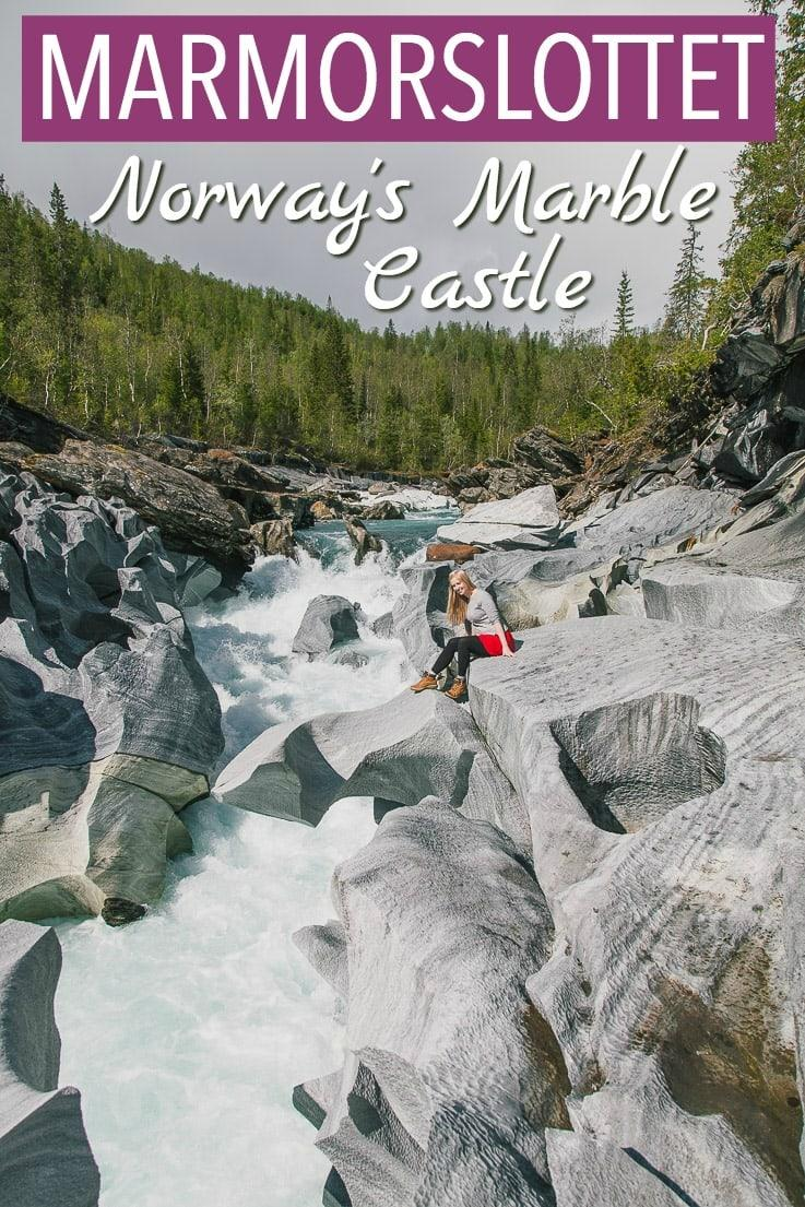 """Marmorslottet, or """"the marble castle"""" is a hike near Mo i Rana in Helgeland, Northern Norway, where you can see beautiful rock formations on the river. Click through to read more about it!"""