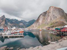 Lofoten islands in summer june weather