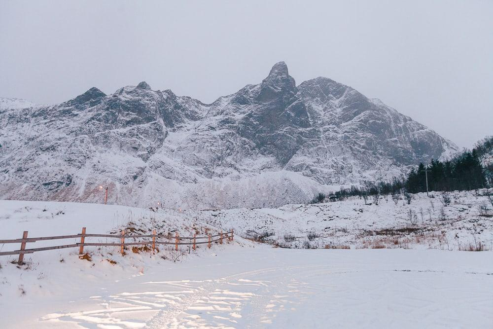 senja, norway in winter with snow
