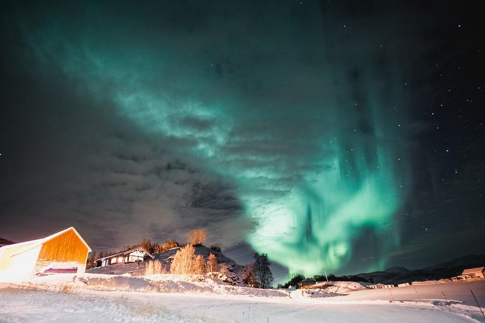 northern lights in norway, dyrøy senja