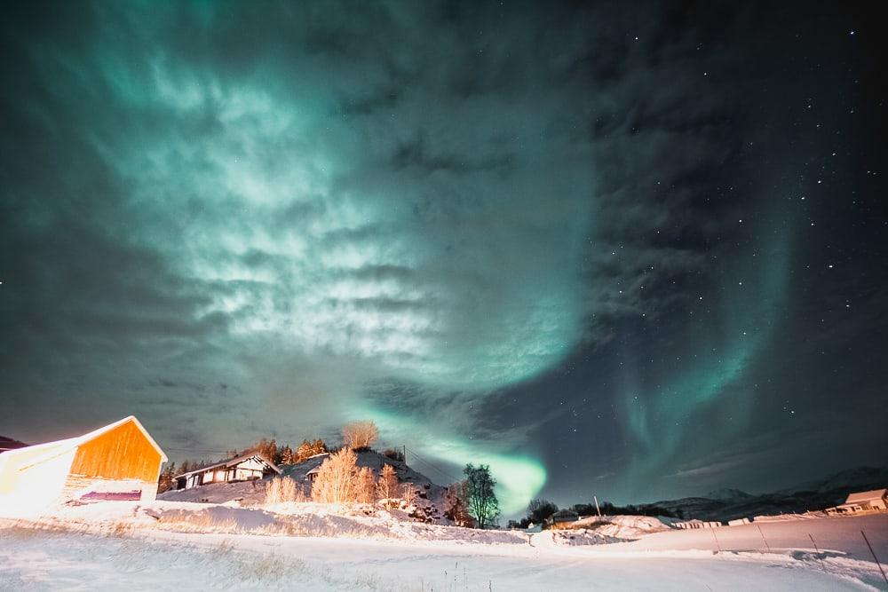 northern lights in norway, dyrøy holiday accommodation