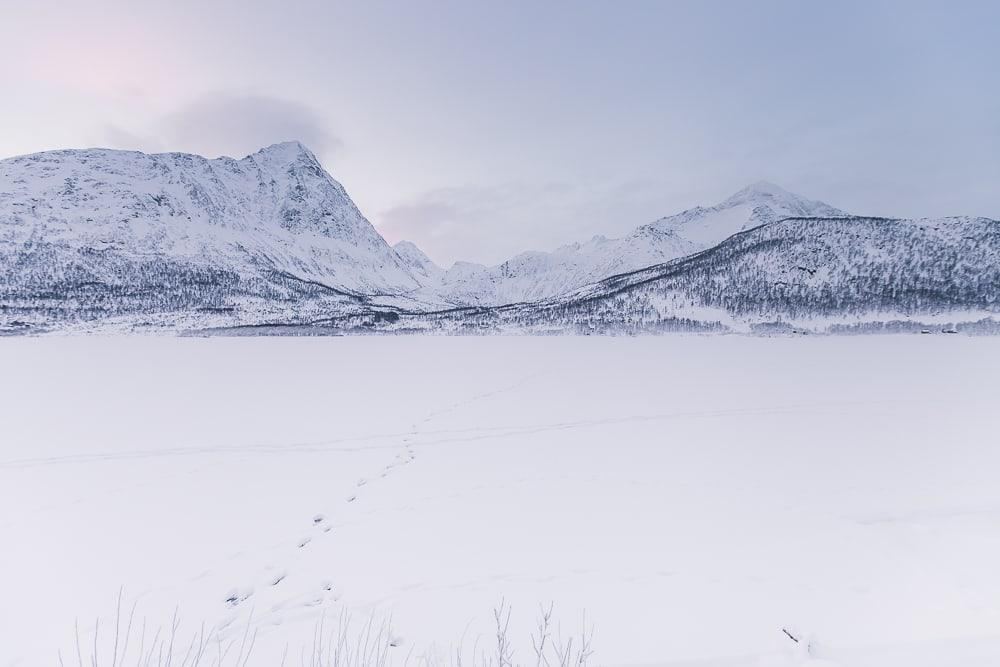 vesterålen in winter with snow