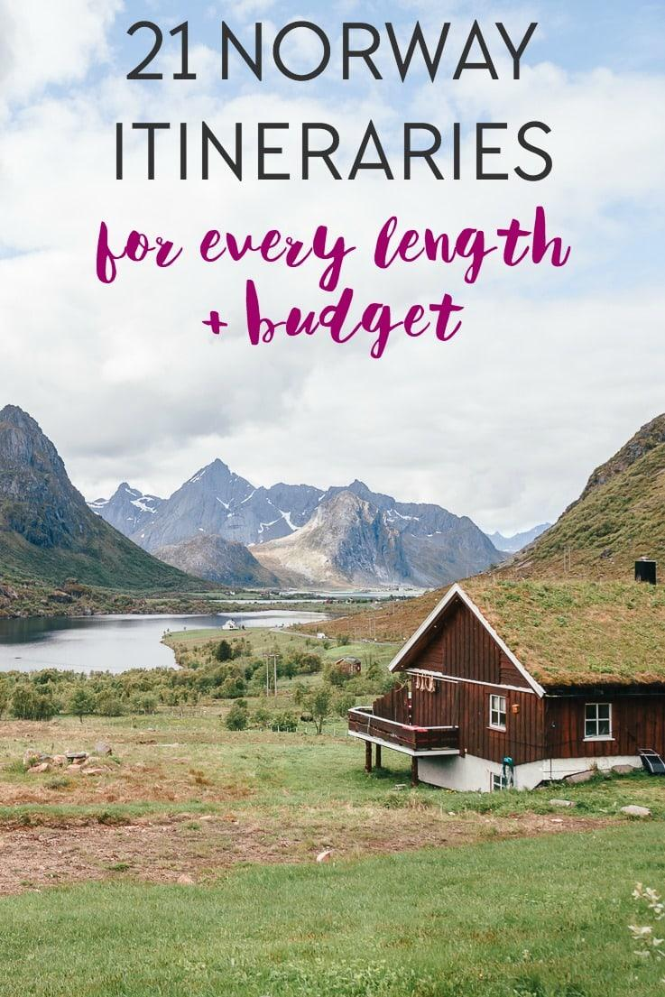 Norway itineraries for 2 days to 2 weeks in Norway