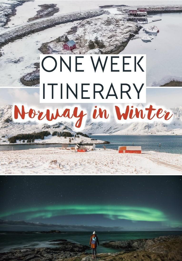 One week Norway itinerary for Northern Norway in winter, including Bodø, Helgeland, Lofoten, Vesterålen, and Senja to see the Northern Lights, reindeer, huskies, etc.