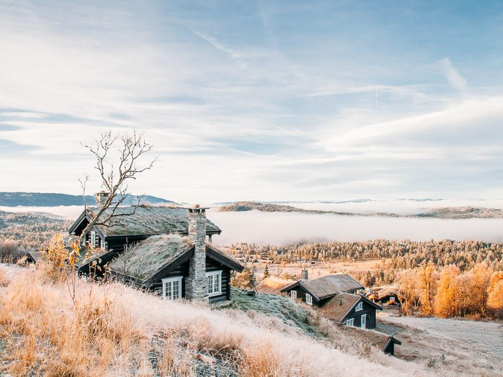 cabin rauland telemark in autumn with clouds and frost