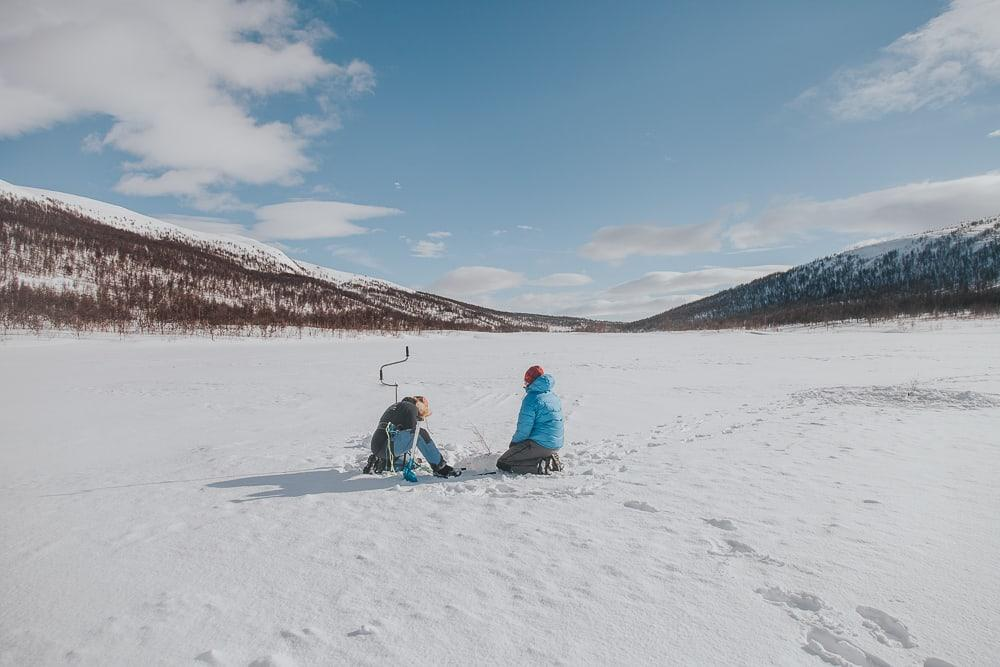 ice fishing with Aaslid Polar in susendal hattfjelldal helgeland norway