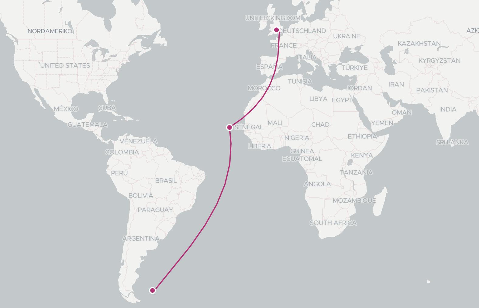 UK to Falkland islands flight