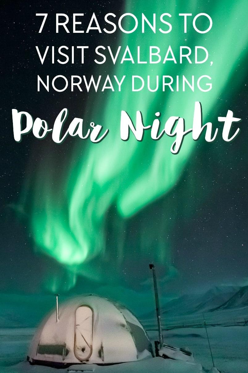 Travel to Svalbard, Norway during polar night in winter, including northern lights, husky sledding, and hiking to an ice cave