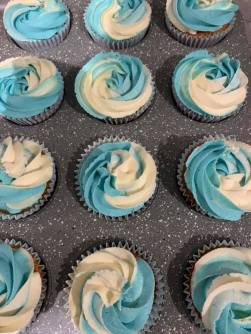 blue white cupcakes - Multiple Colors Frosting