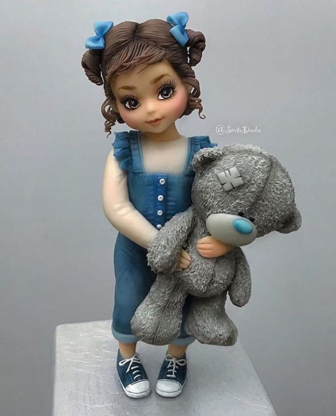 girl with teddy clay - Fondant Character Ideas