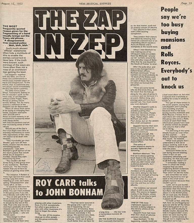 led zeppelin john bonham interview roy carr 1972