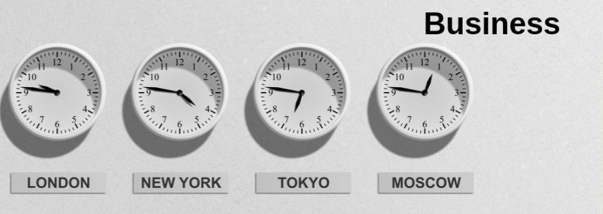 Four clocks showing the different times of major cities around the world