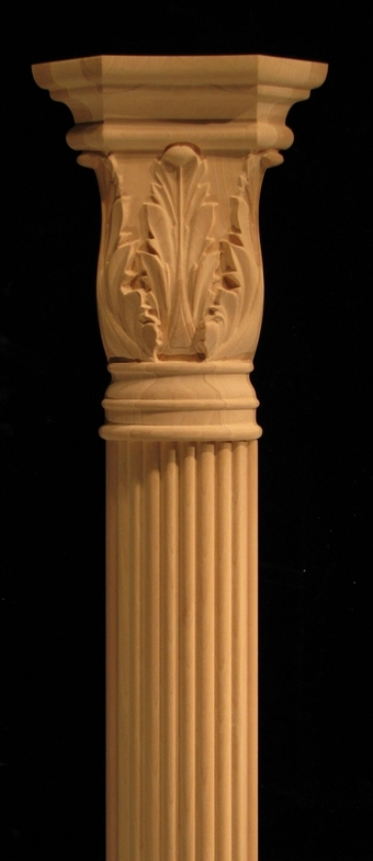 Pilaster  Reeded Pilaster with Acanthus Capital Carved Wood