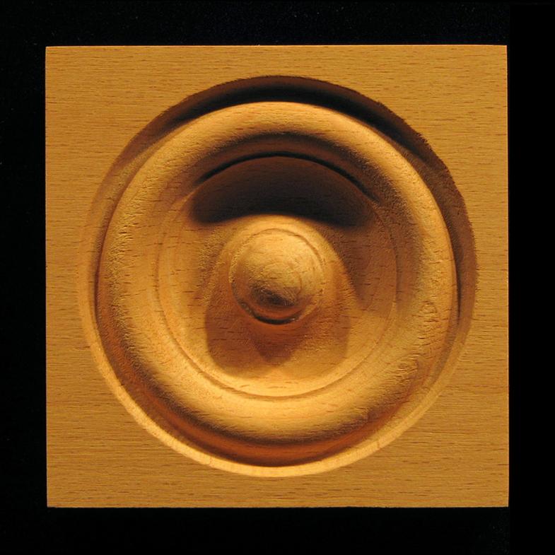 Block  Bullseye Rosette 8 Carved Wood