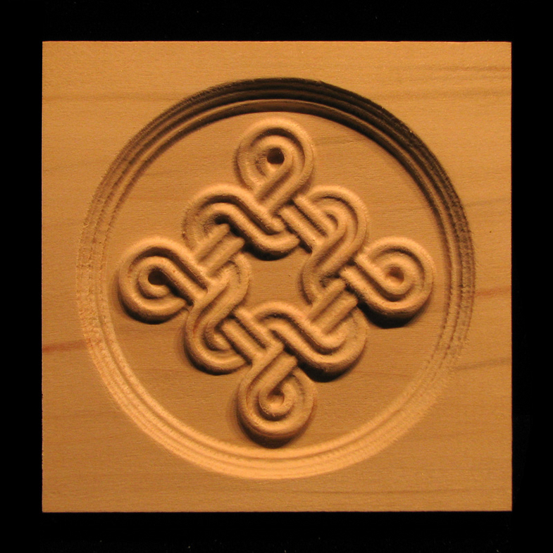 Block  Celtic Double Weave carved wood