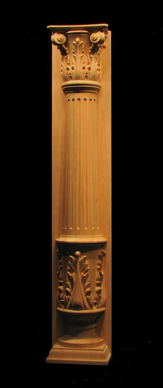 Carved wood column pilaster  Half Round Fluted Column