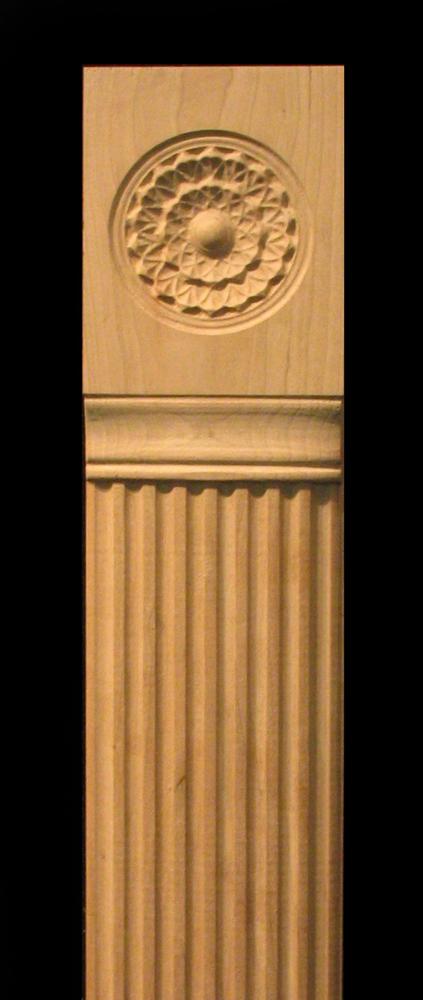 Pilaster  Carved Flutes and Integrated Rosette Carved Wood
