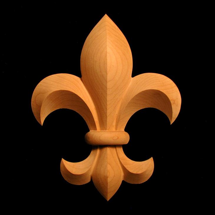 Onlay  Fleur de Lis 1 Carved Wood