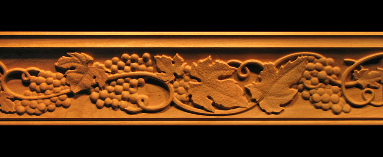Crown Moulding  Tuscan Grapes Wood Carved