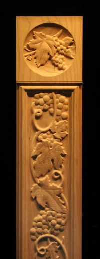 Pilaster - Tuscan Grapes Carved Wood