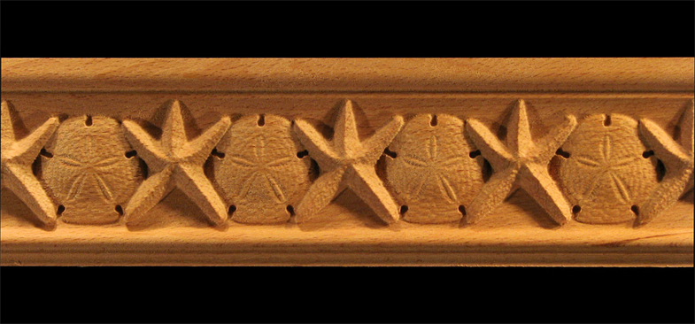 Moulding  Starfish  Sand Dollar Carved Wood