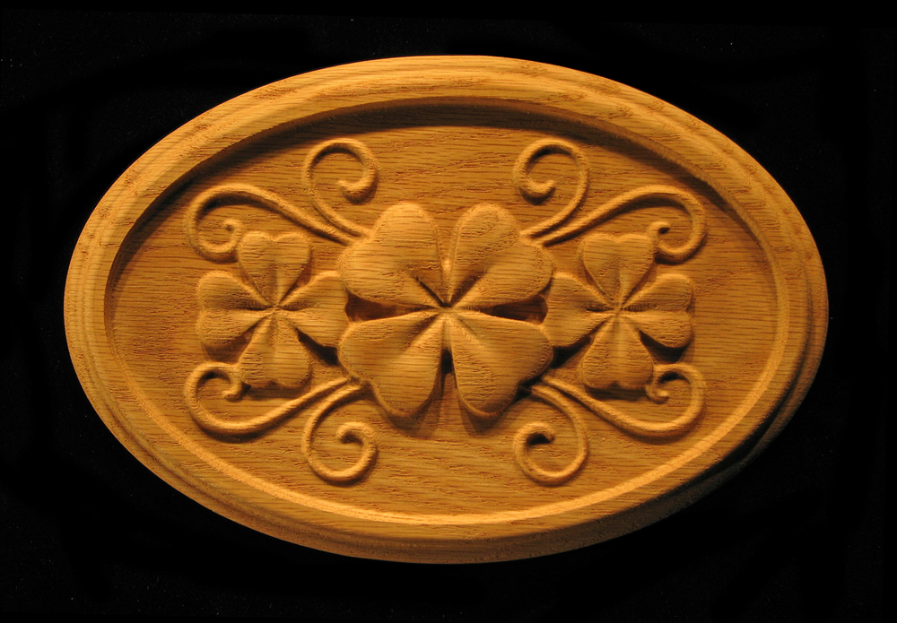 Onlay  Shamrock Clover in Oval Carved Wood