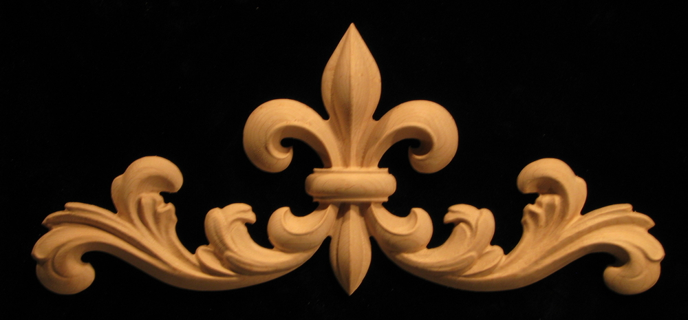 Onlay  Fleur de Lis 2 with Scrollwork Carved Wood