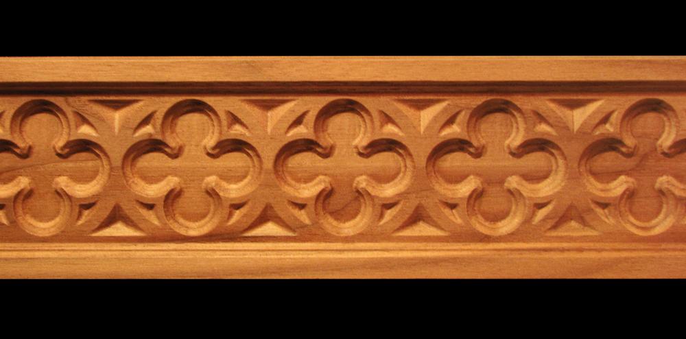 Frieze  Gothic Quatrefoil Decorative Carved Wood Moulding