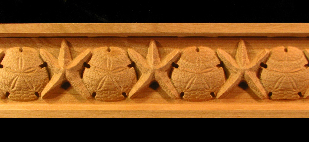 Frieze  Starfish and Sand Dollar Carved Wood Molding