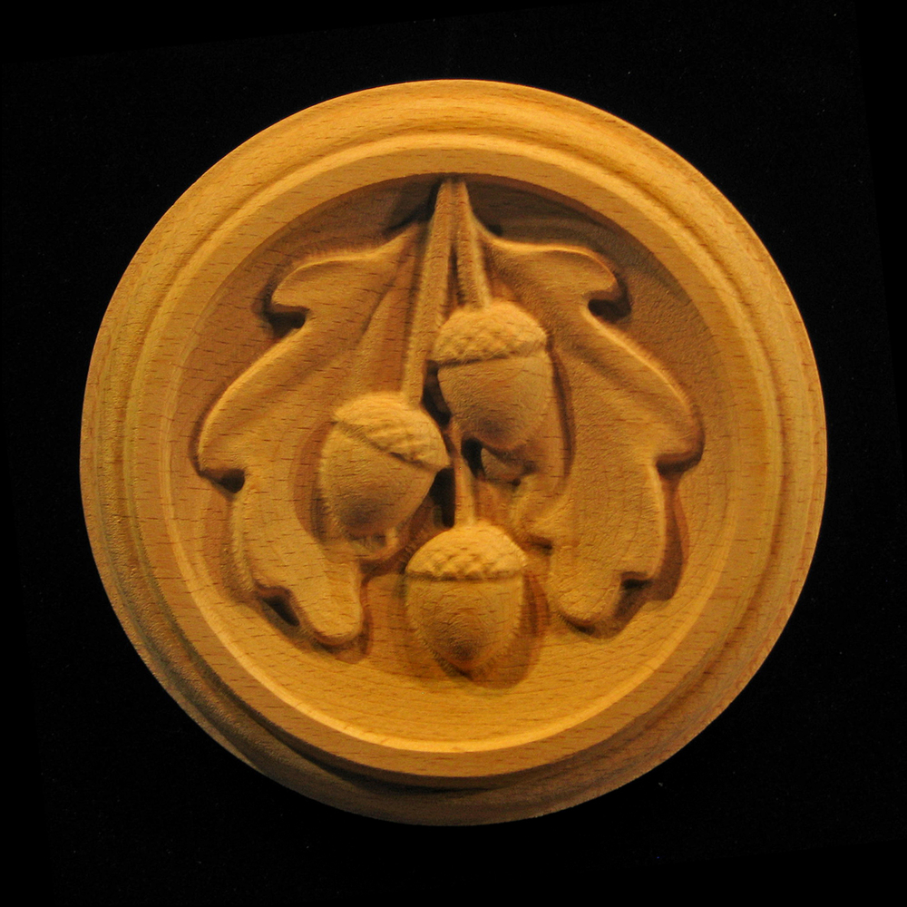Rosette  Oak Leaves and Acorns carved wood