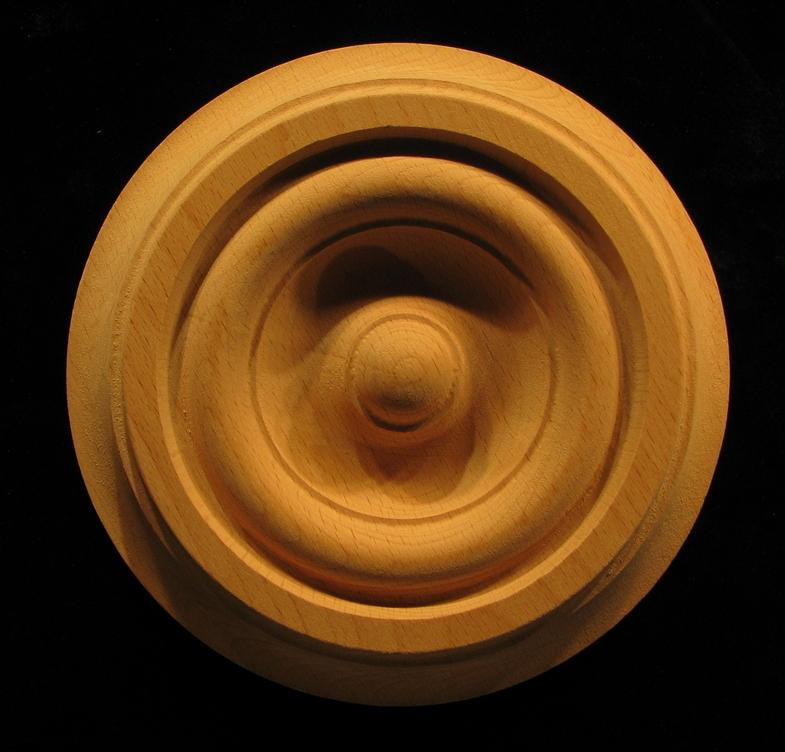 Carved Wood Medallion  Bullseye Carved Wood