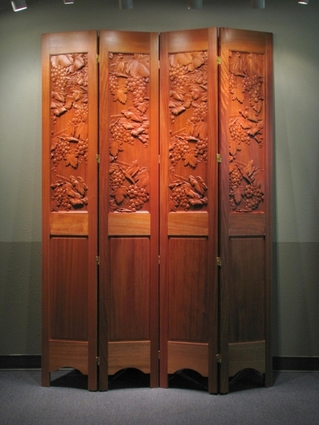 Decorative Partition Screen  Carved Wine Grapes