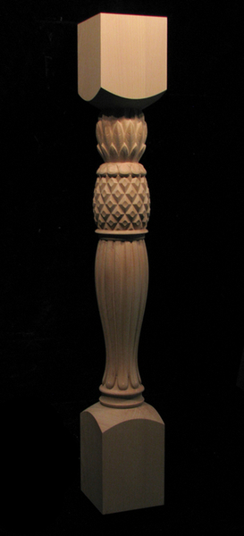 kitchen island with range natural gas stove carved pineapple column