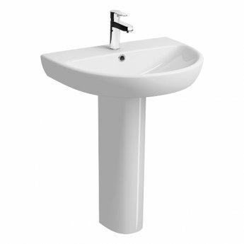 twyford e100 round washbasin with full pedestal 650mm w 1 tap hole