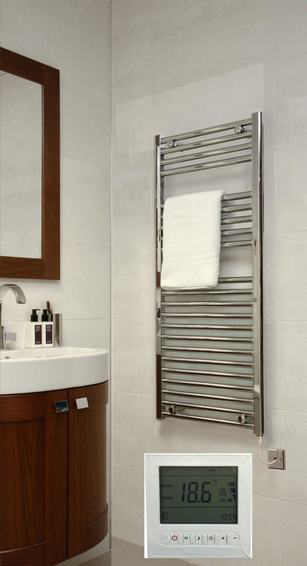 Extra High Heat Output Chrome Electric Curved Towel Rail Timer Room Thermostat Bathroom Heater All Sizes Heat Things