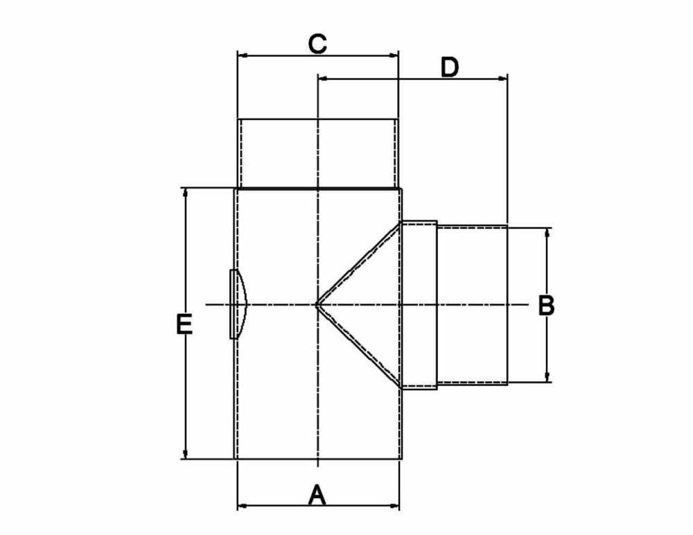 medium resolution of 90 degree tee with cap diagram