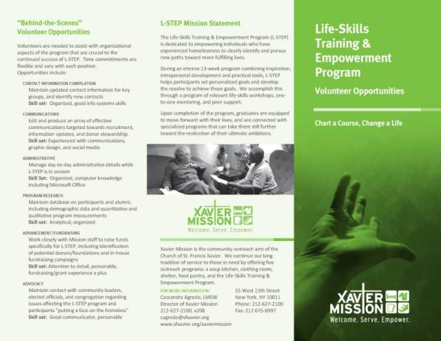 Xavier Mission Brochure Life Skills Training and Empowerment Program Brochure Front Panel