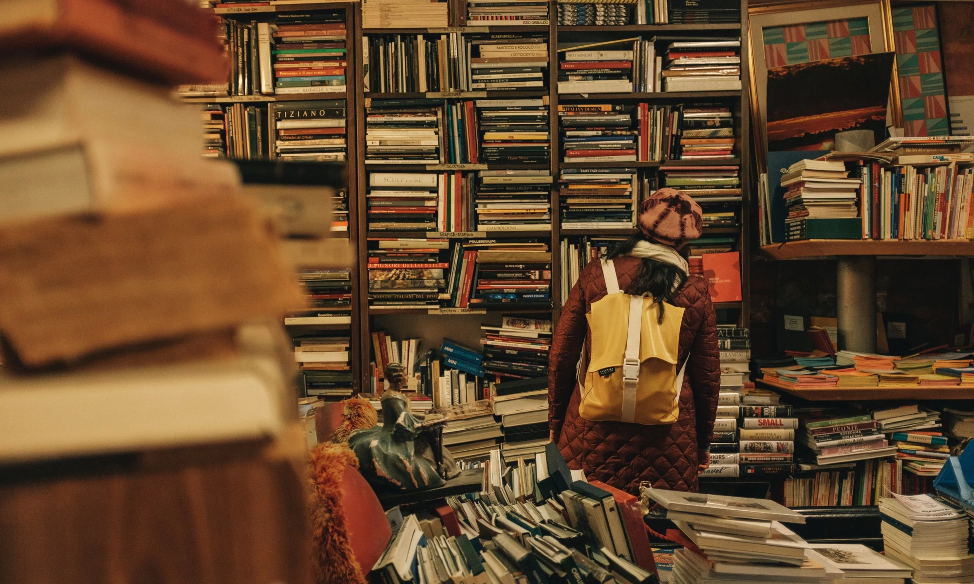Cluttered bookshop in Venice, Italy