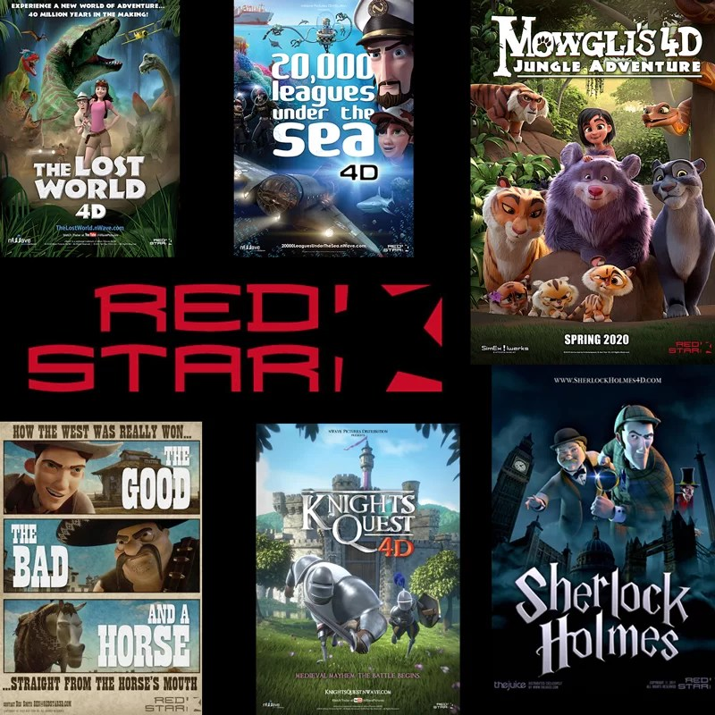 A montage of Red Star 3D movie posters