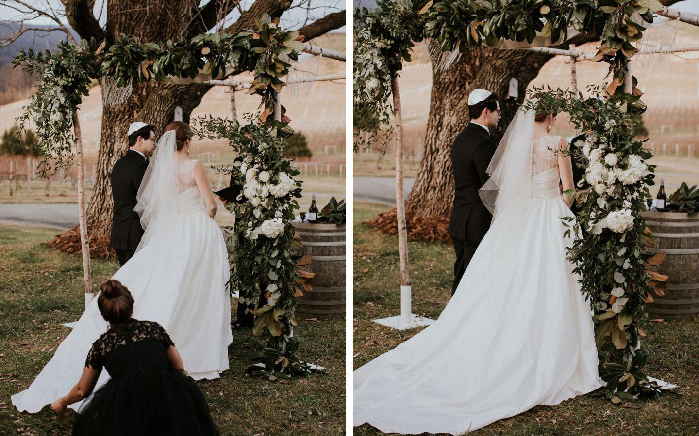 jewish wedding ceremony - veritas wedding - farmhouse at veritas wedding - charlottesville wedding